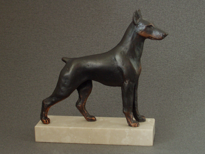 Dobermann - Classic Figure on Marble Base