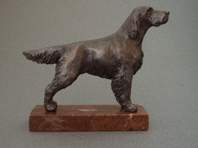 Irish Red & White Setter - Classic Figure on Marble Base