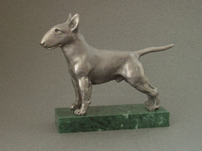 Bullterrier - Classic Figure on Marble Base