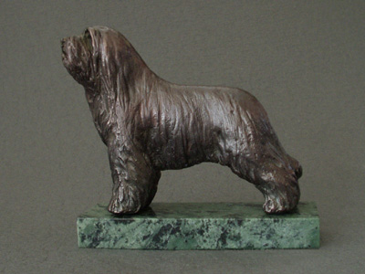 Bearded Collie - Classic Figure on Marble Base