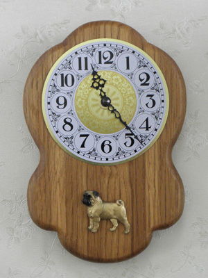 Pug - Wall Clock Rustical Figure