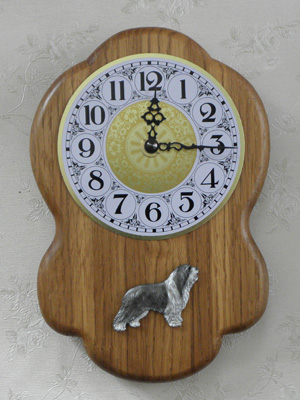 Bearded Collie - Wall Clock Rustical Figure