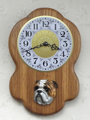 English Bulldog - Wall Clock Rustical Head
