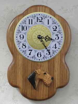 Airedale Terrier - Wall Clock Rustical Head