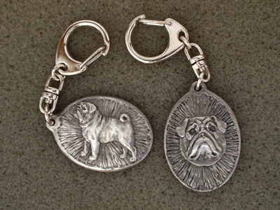 Pug - Double Motif Key Ring