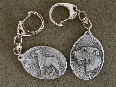 Irish Wolfhound - Double Motif Key Ring