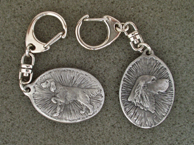 Irish Red & White Setter - Double Motif Key Ring