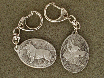 Welsh Corgi Cardigan - Double Motif Key Ring