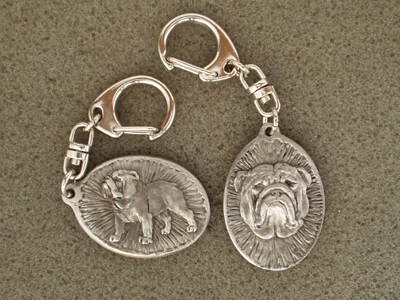 English Bulldog - Double Motif Key Ring