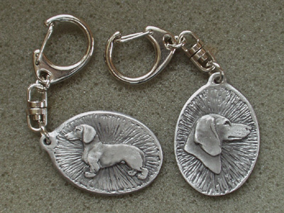 Dachshund Smooth - Double Motif Key Ring