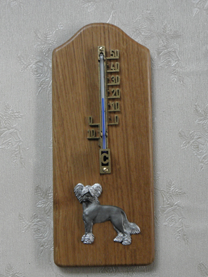 Chinese Crested Dog - Thermometer Rustical
