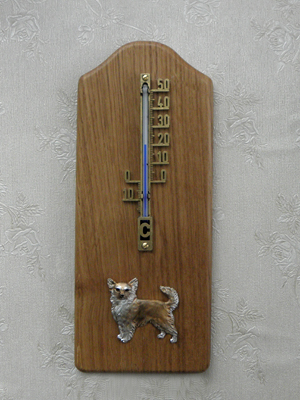 Chihuahua Longhaired - Thermometer Rustical