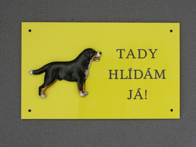 Large Swiss Mountain Dog - Warning Outdoor Board Figure