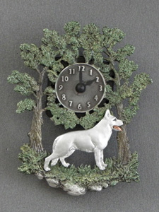 White Swiss Shepherd - Wall Clock metal