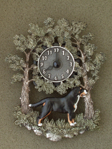 Large Swiss Mountain Dog - Wall Clock metal