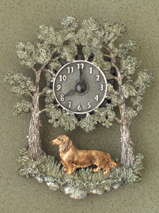 Dachshund longhaired - Wall Clock metal